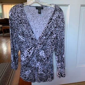 Cable & Guage Black & White Print 3/4 sleeve